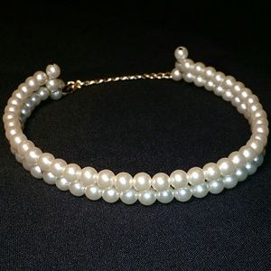 Jewelry - Elegant Double Layer Faux Pearl Choker Necklace